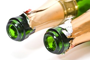 Detail of champagne bottle